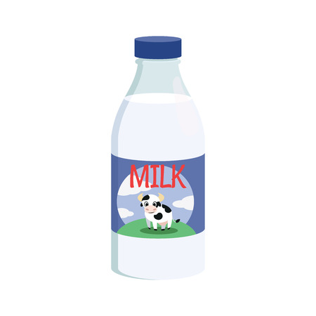 Illustration of a bottle of milk on a white background Çizim