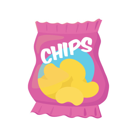 Illustration of a chips pack on a white background Ilustração