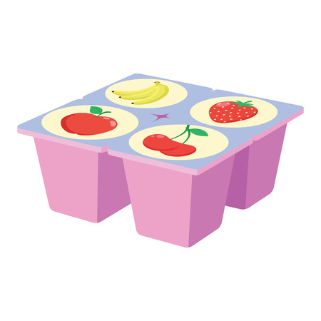 Illustration of a fruit yogurt on a white background