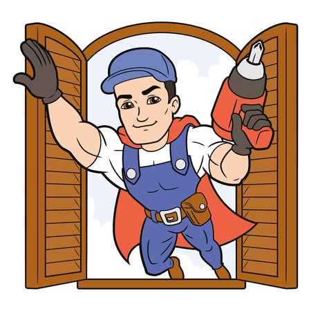 Illustration of a superhero worker flying into a window
