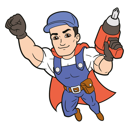 Illustration of a superhero worker flying on a white background