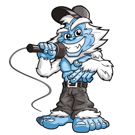 Illustration of a smiling yeti rapper with a microphone on a white background Çizim