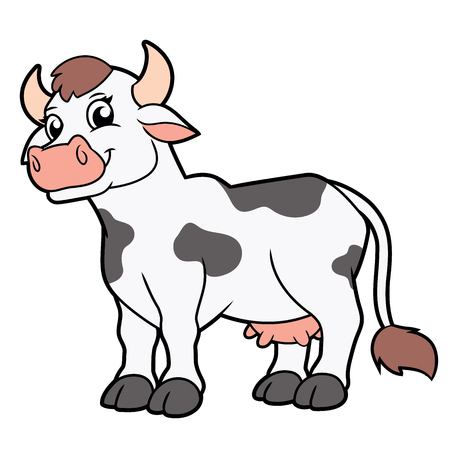Illustration of a cute smiling cow standing on white background