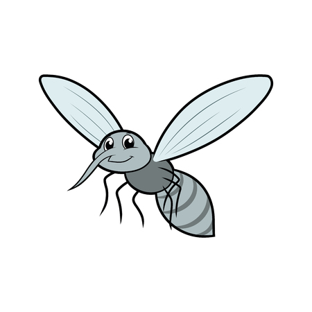Illustration of a little smiling flying mosquito on a white background