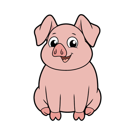 Illustration of a cute smiling big pig on a white background