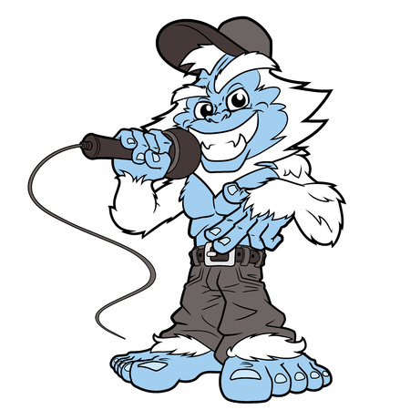 Illustration of a smiling yeti rapper with a microphone on a white background Illustration