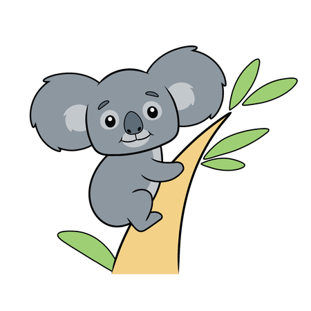 Illustration of a cute koala bear on a tree on a white background Çizim