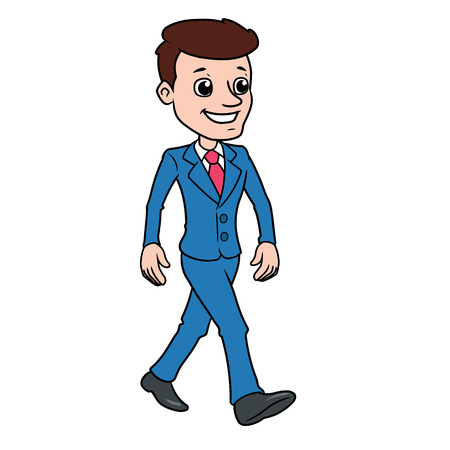 Illustration of a handsome man in a suit walking on a white background Çizim