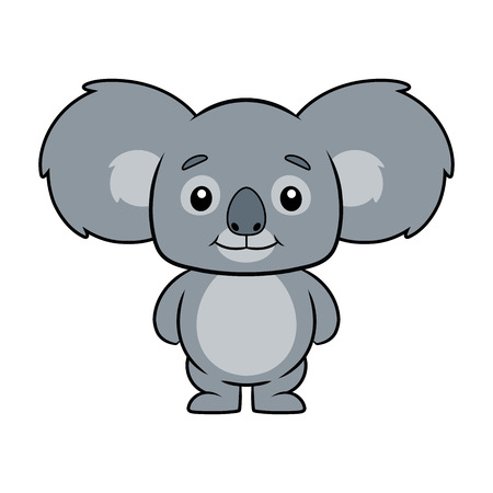 Illustration of a cute koala bear on a white background Çizim