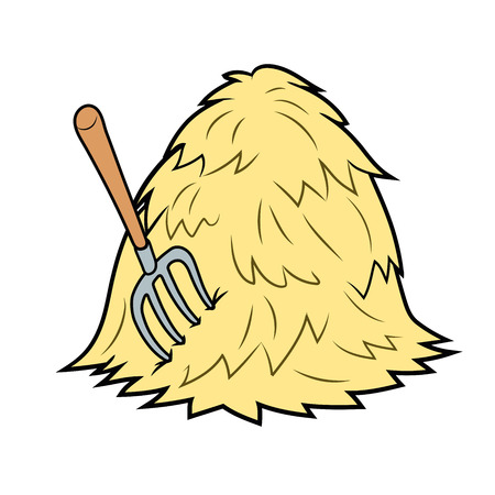 Illustration of a haystack with pitchfork on white background