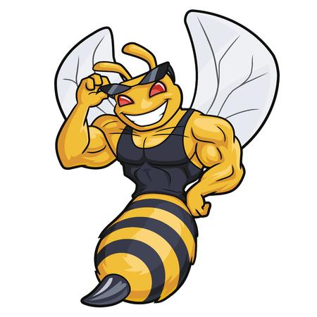 Illustrazione di una mascotte di ape muscolosa volante su sfondo bianco