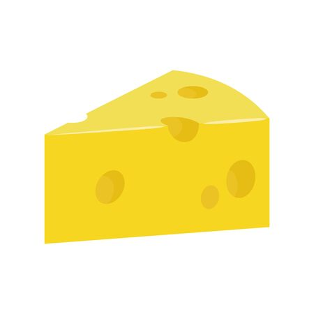 Illustration of a cheese flat icon a white background