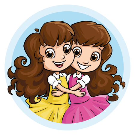 Illustration of two happy girl sisters hugging a white background