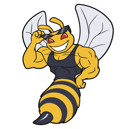 Illustration of a flying muscled bee mascot on a white background Illusztráció