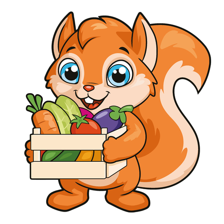 Illustration of a squirrel with a crate of vegetables on a white background