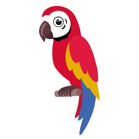 Illustration of a colorful parrot sitting on a branch on a white background Ilustrace