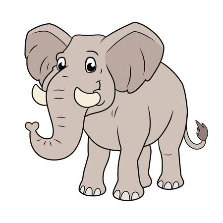 Illustration of a cute smiling elephant on a white background