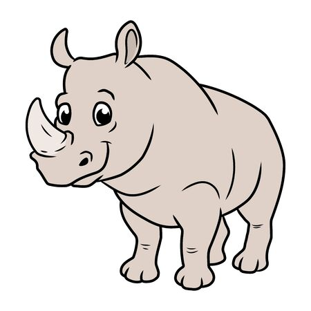 Illustration of a cute smiling rhinoceros on a white background Ilustrace