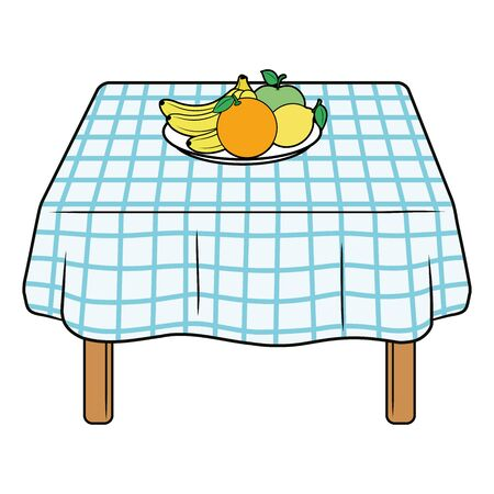 Illustration of a kitchen table with fruits on a white background