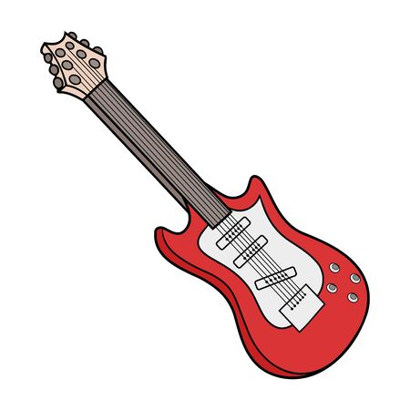 Illustration of a red electric guitar on a white background Ilustrace