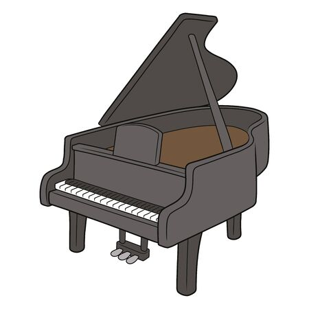 Illustration of a black piano on a white background