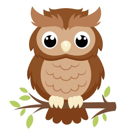 Illustration of a big owl sitting on a branch on a white background