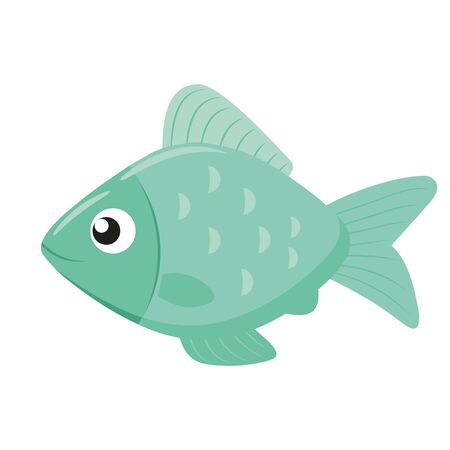 Illustration of a cute little fish flat icon on a white background Ilustrace