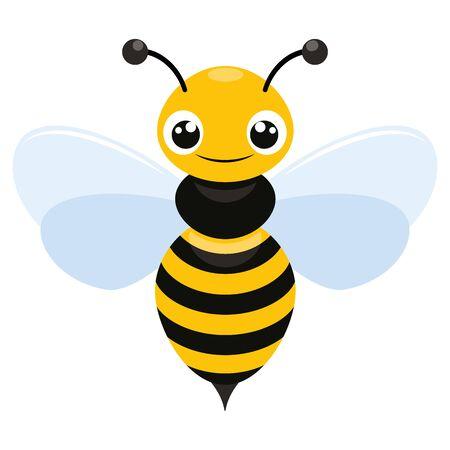 Abbildung einer lächelnden fliegenden Biene flache Ikone auf weißem Hintergrund