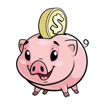 Illustration of a cute piggy bank on a white background