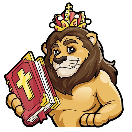 Illustration of a lion holding the Bible on a white background Ilustrace