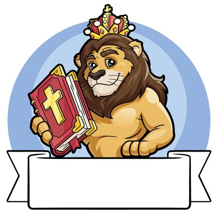 Illustration of a lion in a crown holding the Bible. White banner