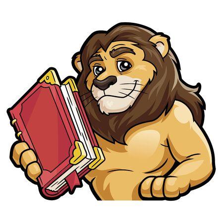 Illustrazione di un leone che tiene in mano un grande libro su sfondo bianco