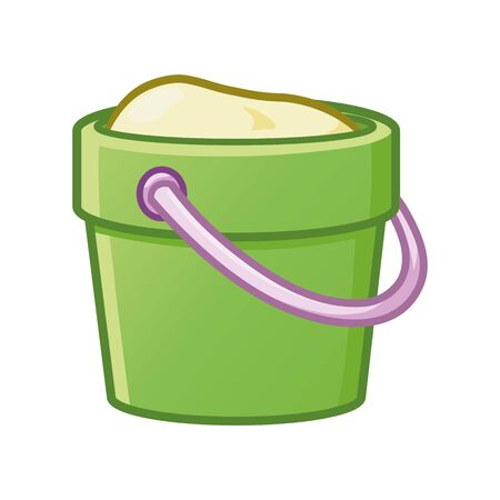 Illustration of a bucket toy with sand on a white background