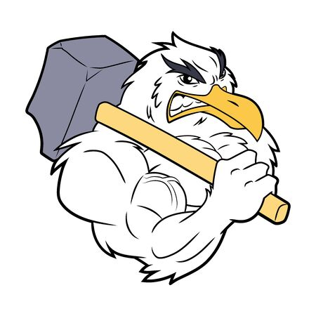 Illustration of a strong seagull with hammer on a white background