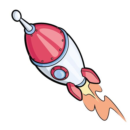 Illustration of a spaceship rocket on a white background Ilustrace