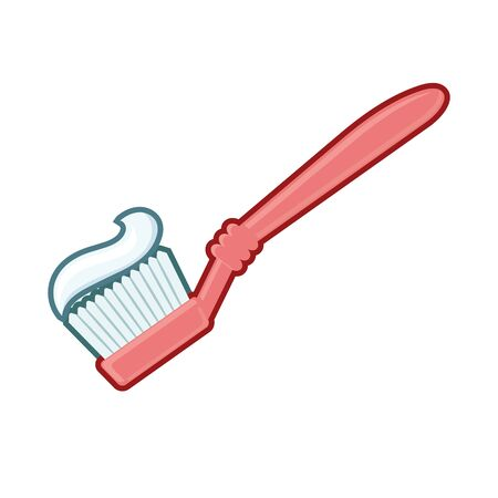 Illustration of a toothbrush with toothpaste on a white background Ilustrace
