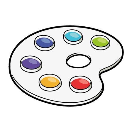 Illustration of a watercolor paint palette on a white background