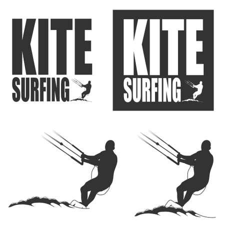 kite surfing: Kitesurfing. Concept emblem Illustration