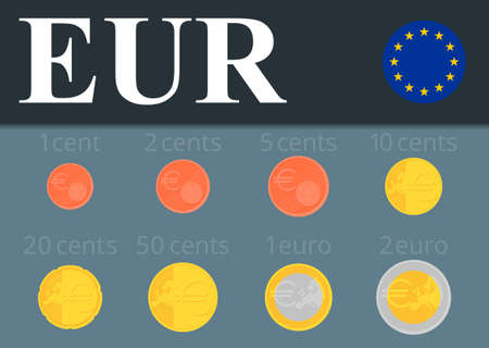 euro coins: Euro coins set isolated on background. Abstract illustration.