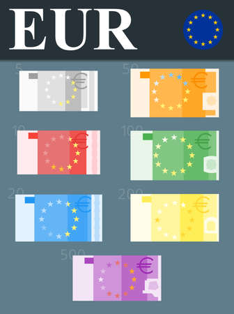 Abstract 500 euro, 200 euro, 100 euro, 50 euro, 20 euro, 10 euro, 5 euro banknotes. Illustration
