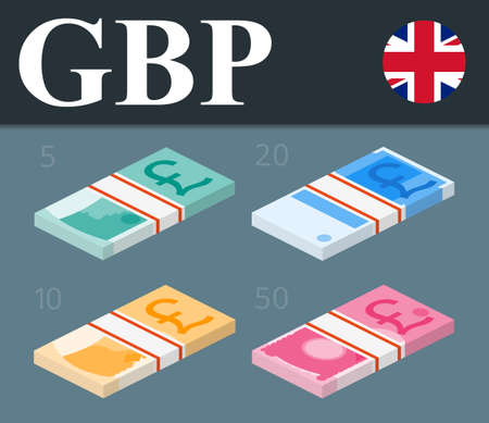 pounds: Abstract 50 pounds, 20 pounds, 10 pounds, 5 pounds  banknotes. Illustration