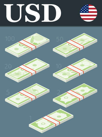 stylized banking: Abstract 100 dollars, 50 dollars, 20 dollars, 10 dollars, 5 dollars, 2 dollars, 1 dollar banknotes.