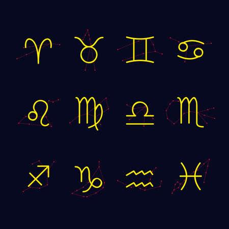 constelaciones: Los signos astrológicos con las constelaciones en el fondo