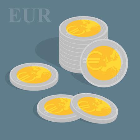 euro coins: Euro coins set. illustration. Pile of coins