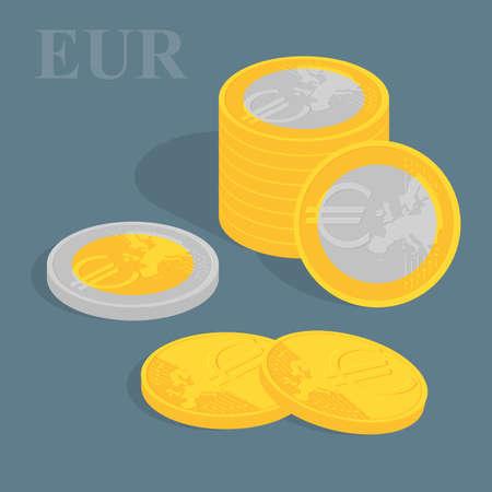 augmentation: Euro coins set. illustration. Pile of coins