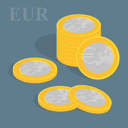 augmentation: Euro coins set. illustration. Pile of coins
