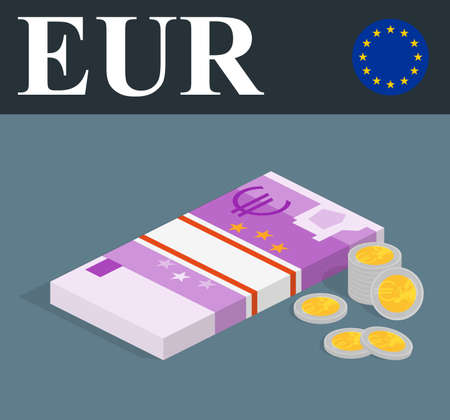 paper wad: Abstract EUR banknotes and coins. Isometric style