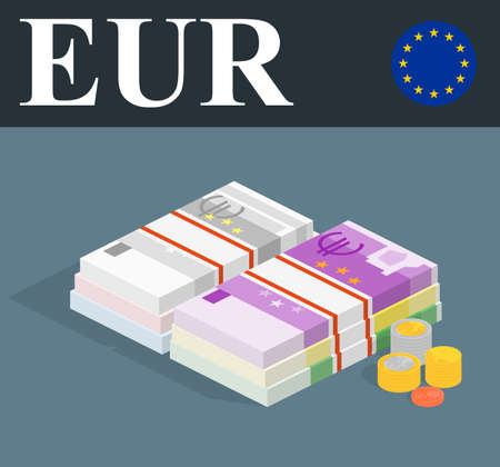 Abstract EUR banknotes and coins. Isometric style