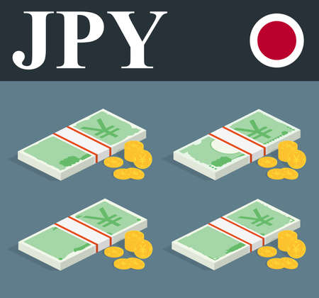 nippon: Abstract JPY banknotes and coins. Isometric style Illustration