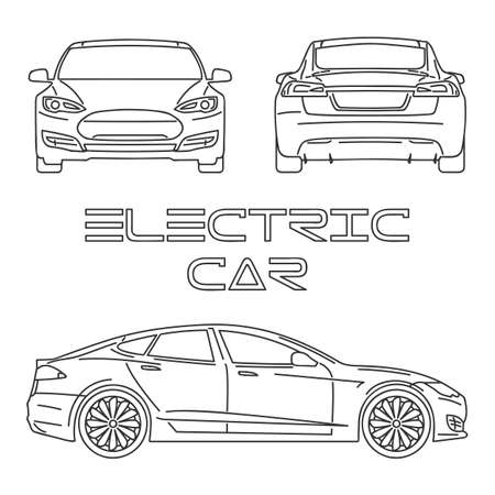 Silhouette of electric car. Front view. Back view. Side view Vektorové ilustrace